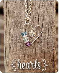 handcrafted birthstone heart jewelry by jules jewelry.