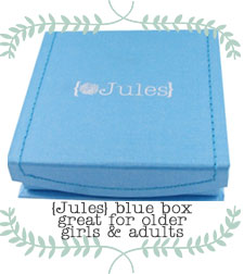 {Jules} jewelry blue signature jewelry gift box.