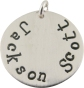 personalized hand-stamped circle charm.