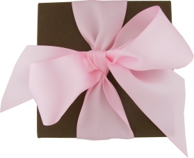chocolate brown box with pink satin bow.