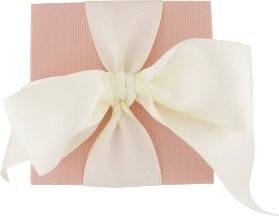 Pink gift box with ivory satin bow.